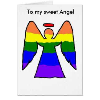 Tarjeta de Navidad gay del ángel