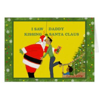 Tarjeta de Navidad gay vi al papá el besar de Papá