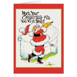 Tarjeta de Navidad Golfing de Santa