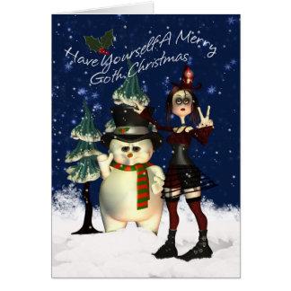 Tarjeta de Navidad gótica, H.I.P. Y muñeco de niev