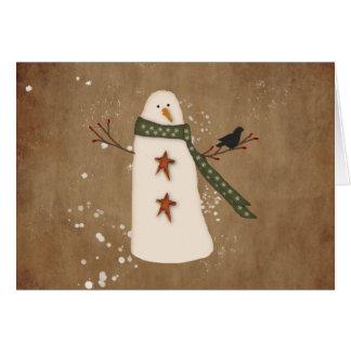 Tarjeta de Navidad grande de la fuente del muñeco