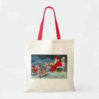 "Tarjeta de Navidad holandesa del vintage de ""Geluk Bolsa Tela Barata"