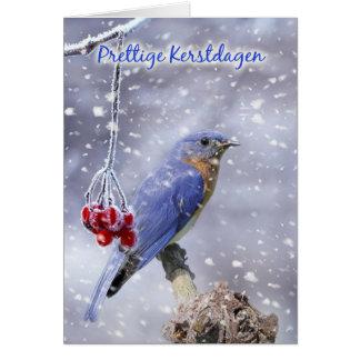 tarjeta de Navidad holandesa - pájaro azul con las