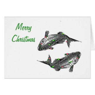 Tarjeta de Navidad horizontal de Piscis con el tex