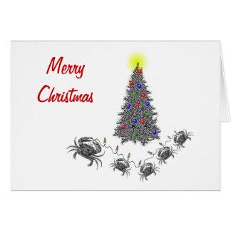 Tarjeta de Navidad horizontal del cáncer con el te