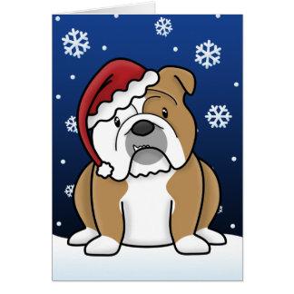Tarjeta de Navidad inglesa del dogo de Kawaii