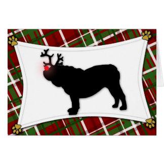 Tarjeta de Navidad inglesa del reno del dogo