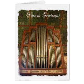 Tarjeta de Navidad inglesa vieja del órgano