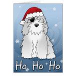 Tarjeta de Navidad inglesa vieja del perro pastor
