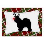 Tarjeta de Navidad inglesa vieja del reno del perr
