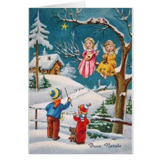 Tarjeta de Navidad italiana de los músicos del áng