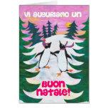 Tarjeta de Navidad italiana - pingüinos patinadore