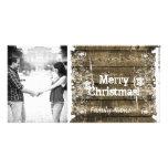 Tarjeta de Navidad lamentable de madera rústica de Tarjetas Fotográficas Personalizadas