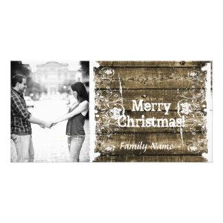 Tarjeta de Navidad lamentable de madera rústica de Tarjetas Fotograficas