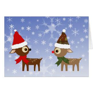 Tarjeta de Navidad linda de los amigos del reno