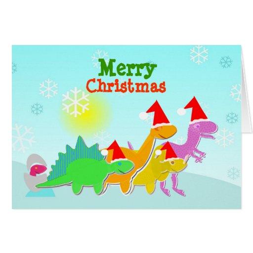 Tarjeta de Navidad linda de los dinosaurios del di