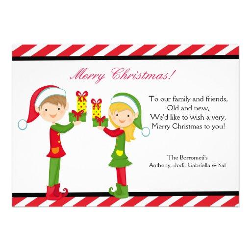 Tarjeta de Navidad linda de los duendes Anuncio