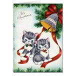 Tarjeta de Navidad linda de los gatitos del vintag
