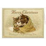 Tarjeta de Navidad linda de los gatos del vintage
