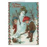 Tarjeta de Navidad linda de Santa del vintage