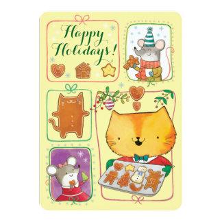"""Tarjeta de Navidad linda del gato y de los ratones Invitación 5"""" X 7"""""""