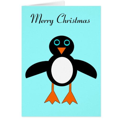 Tarjeta de Navidad linda del pingüino