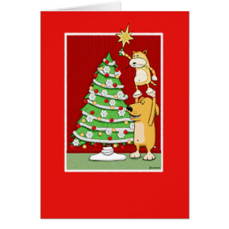 Tarjeta de Navidad linda: Gato y perro