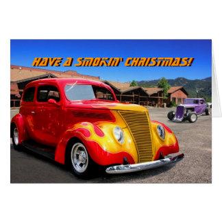 Tarjeta de Navidad llama-roja del coche del coche