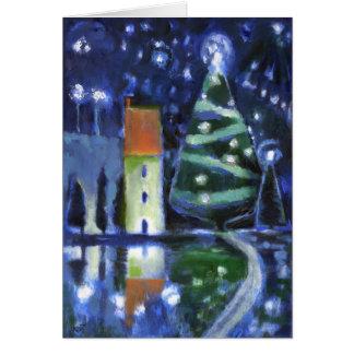 Tarjeta de Navidad mágica de la tarde