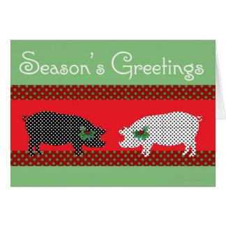 Tarjeta de Navidad manchada de los cerdos