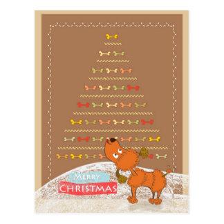 tarjeta de Navidad marrón linda del caniche Tarjetas Postales