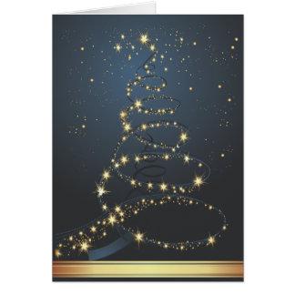 Tarjeta de Navidad moderna azul del árbol de