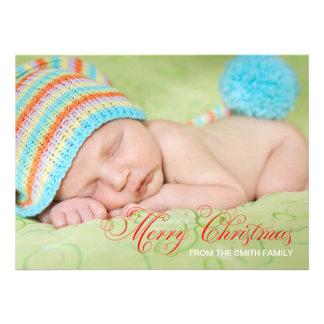 Tarjeta de Navidad moderna de la foto del verde ve Comunicado Personalizado