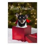 Tarjeta de Navidad negra de la chihuahua