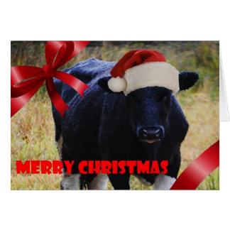 Tarjeta de Navidad negra de la vaca