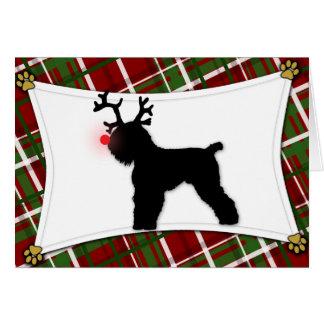 Tarjeta de Navidad negra de Terrier del ruso del r