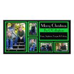 Tarjeta de Navidad negra y verde - 5 fotos Tarjetas Fotográficas Personalizadas