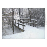 Tarjeta de Navidad nevada del puente del invierno