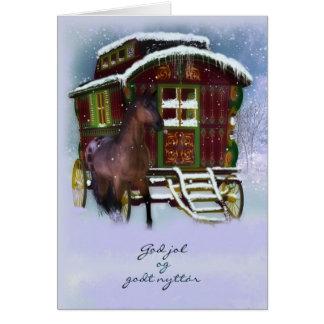 Tarjeta de Navidad noruega - caballo y caravana vi