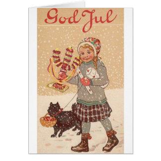 Tarjeta de Navidad noruega/danesa del vintage de