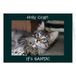 Tarjeta de Navidad observada azul del gatito