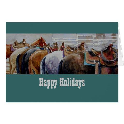 Tarjeta de Navidad occidental del caballo