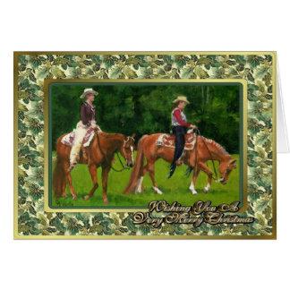 Tarjeta de Navidad occidental del caballo del cuar
