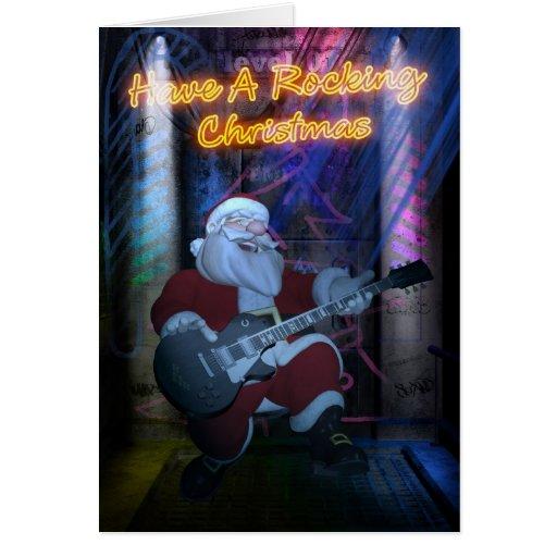 Tarjeta de Navidad oscilante de Santa - guitarra