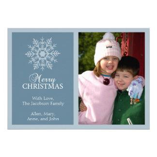 Tarjeta de Navidad pacífica del copo de nieve gri Anuncios Personalizados