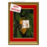 Tarjeta de Navidad, paquete de oro