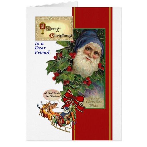Tarjeta de Navidad para el amigo - vintage Santa,