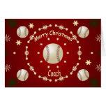 Tarjeta de Navidad para el entrenador de béisbol