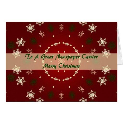 Tarjeta de Navidad para el portador del periódico