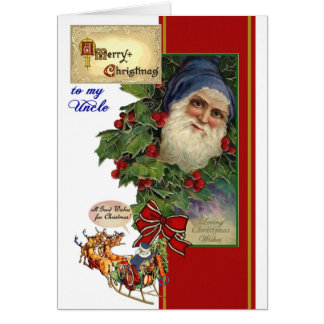 Tarjeta de Navidad para el tío - vintage Santa,